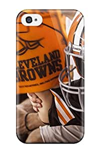 Rugged Skin Case Cover For Iphone 4/4s- Eco-friendly Packaging(clevelandrowns U )