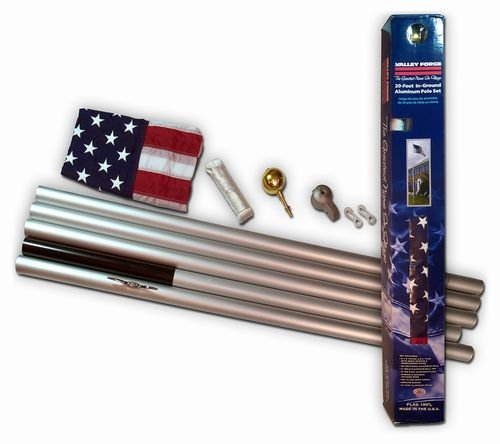 20 FT Valley Forge Commander Residential Flag Pole Complete Set with WindStrong® 3x5 FT US American Nylon Flag