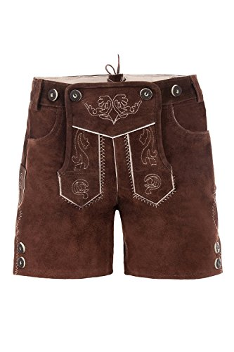 Authentic bavarian child Trachten leather trousers kneebound or short trousers for children, girls and boys (140(US8-10), Short trousers)