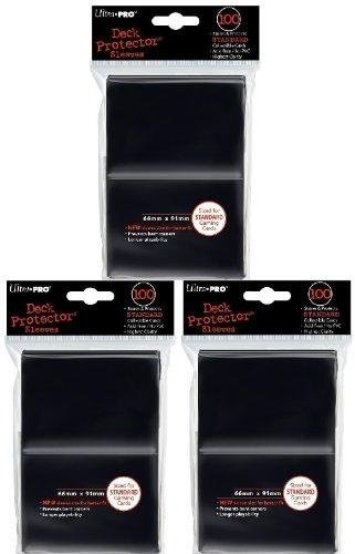 Ultra Pro Card Supplies STANDARD Card Sleeves Lot of 3 Pack Black [300 Sleeves]