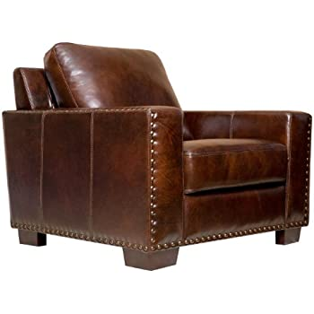 abbyson beverly hand rubbed leather armchair