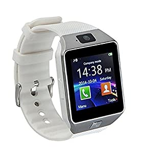 DZ09 Bluetooth Smart Watch 1.54 LnchTouch Screen High-capacity battery Watch Phone Support SIM TF Card With Camera Pedometer Activity Tracker for Iphone IOS Samsung Android Smartphones(White)