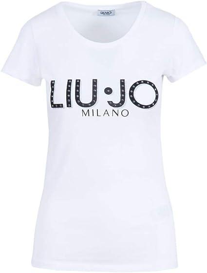 puramente Locomotora Nublado  Liu Jo - Camiseta de manga corta para mujer con logotipo de brillantes  Bianco XL: Amazon.es: Ropa y accesorios
