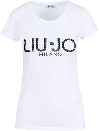 Piscina inteligente Contradicción  Liu Jo - Camiseta de manga corta para mujer con logotipo de brillantes  Bianco XL: Amazon.es: Ropa y accesorios