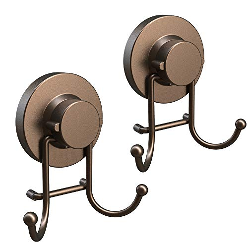HOME SO Towel Hook Suction Cup Holder - Bathroom, Shower & Kitchen Storage Organizer Hanger Bath Robe, Towel, Coat, Loofah - Stainless Steel, Bronze (2 Pack) ()