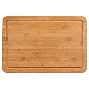 Alton Bay Bamboo Large Cutting Board 17.7x11.8x.8 Inches; Carving Board Topside has Drip Groove to Catch Liquids; Reverse Side is a Smooth Extra Large Bamboo Wood Cutting Board and Serving Board; Strong Light Moso Bamboo; Natural Finish - No Dye, Stain or Varnish