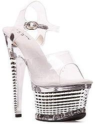 Ellie Shoes E-649-Diamante 6 ankle strap with textured platform.