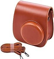 KKmoon Porta-bolsa para câmera instantânea portátil em couro PU com alça de ombro compatível com Fujifilm Fuji