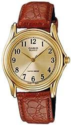 Casio Men's MTP1096Q-9B1 Brown Leather Quartz Watch with Gold Dial