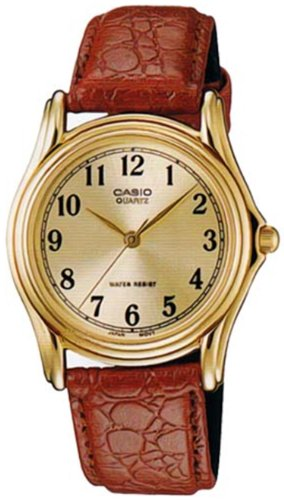 Casio Men's MTP1096Q-9B1 Brown Leather Quartz Watch with Gold Dial