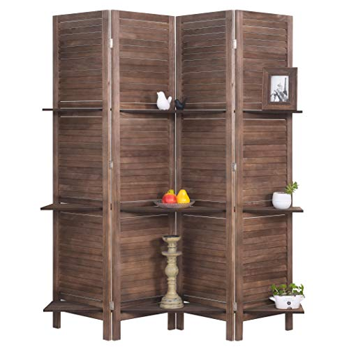 RHF 4 Panel 5.6 Ft Tall Partition Wood Room Divider, Wood Folding Room Divider Screens, Panel Divider&Room Dividers, Room Dividers and Folding Privacy Screens with Shelves(4 Panel,Brown) (Small Room Divider Screens)