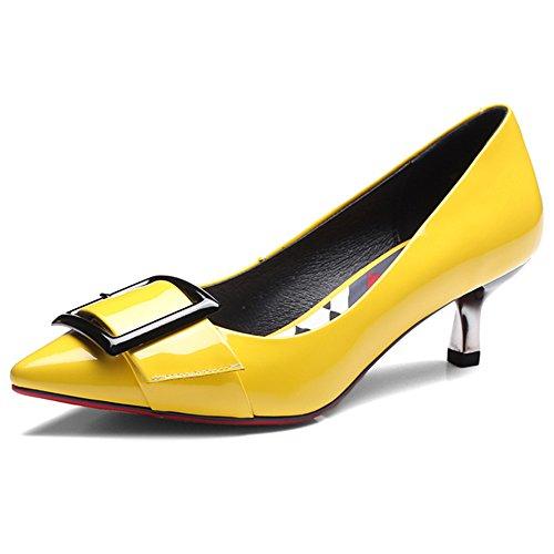 Nine Seven Cuero Puntiagudos Tacones de Aguja con la Hebilla para Mujer amarillo