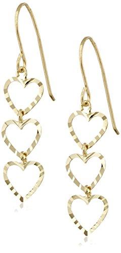 Classic Triple Heart (14k Yellow Gold Diamond-Cut Lightweight Triple-Heart Drop Earrings)