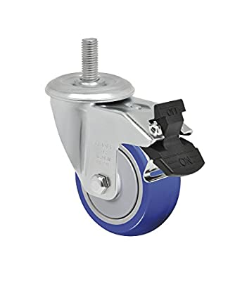 "Schioppa L12 Series, GLEFF 312 TP G, 3 x 1-1/4"" Swivel Caster with Total Lock Brake, Non-Marking Thermoplastic Compound Wheel, 150 lbs, 10 mm Diameter x 40 mm Length Threaded Stem"