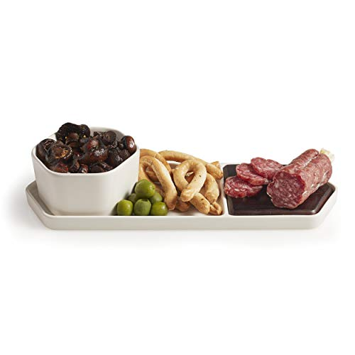 Libbey Urban Story 2-piece Tray with Wood Insert and Dip Dish -