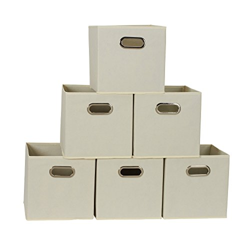 Household Essentials 82-1 Foldable Fabric Storage Bins | Set of 6 Cubby Cubes with Handles | Natural, 6 lbs, ()