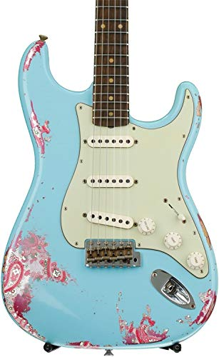 (Fender Custom Shop 60s Stratocaster Heavy Relic Closet Classic Mix - Daphne Blue Over Pink Paisley with Rosewood Fingerboard)