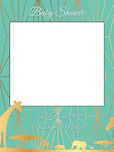 Custom Teal and golden Baby Shower Photo Booth Prop - Sizes 36x24, 48x36; animal baby shower, Handmade Decor, Golden Animals, Safari, Jungle Photo Booth Prop, Party -