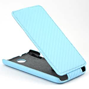 Carbon Leather Flip Case Cover for HTC Desire 300 Blue + 1 gift