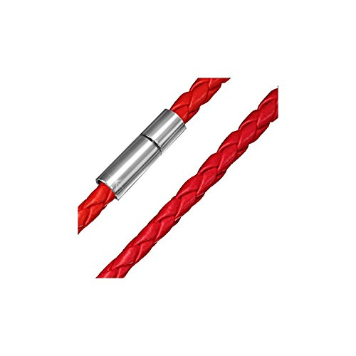 Collier homme cuir rouge - 58 cm