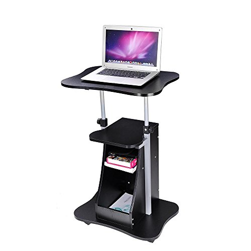 Yescom Adjustable Height Rolling Mobile Stand Laptop Desk Cart w/Storage Office Black