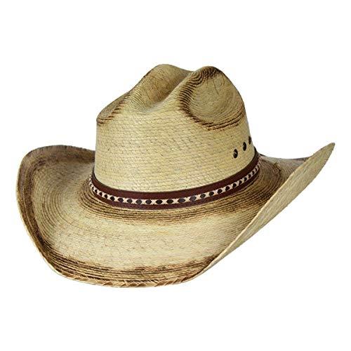 Mexican Ridge Top Palm Leaf Straw Cowboy Hat, Cattleman Sun ()