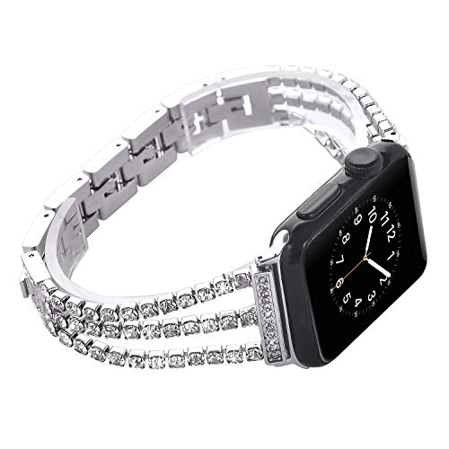 (Watch Straps compatible Apple Watch 38mm/40mm,Women Glitter Stainless Steel Band,Silver Bracelet with Folding clasps Replacement Wristband for iWactch 40mm Series 4/3/2/1)