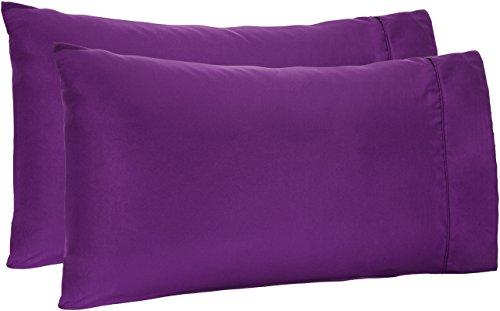 AmazonBasics Light-Weight Microfiber Pillowcases - 2-Pack, Standard, Plum (Shams Plum Colored Pillow)