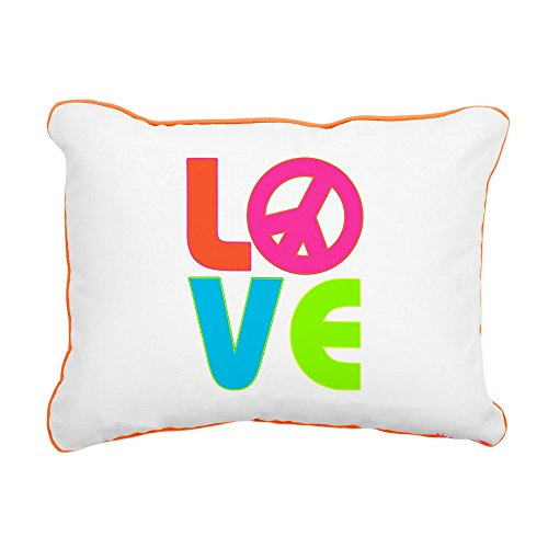 (Rectangular Canvas Throw Pillow Orange Neon Love with Peace Symbol Sign)