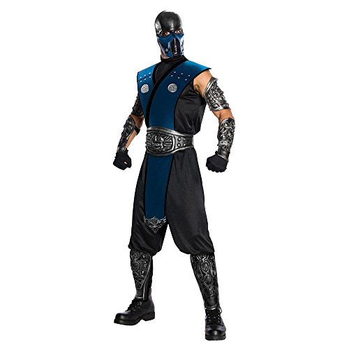 [Warner Bros. Men's Mortal Kombat Sub-Zero Deluxe Costume Standard] (Sub-zero Costume)