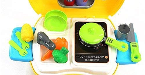 BIGFOLK Kids 26-Piece Kitchen Portable Luxury Suitcase Shape Cooking Play Set for Kids Girls Toy & Barbie Kitchen Accessories Set for 3 Year Old Girls