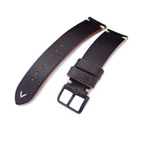 21mm-MiLTAT-Dark-Brown-Genuine-Calf-Leather-Watch-Strap-Beige-Stitching-PVD-Black-Buckle