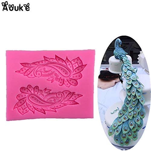 1 piece Peacock Feather 3D Shape Cake Silicone Mold Embossed Fondant Molds Chocolate Biscuits Moulds DIY Wedding Decoration Baking ()