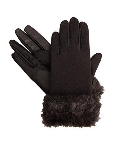 Isotoner Stretch Wool Long Faux Fur Cuffed SmarTouch Tech Gloves, Black, XL