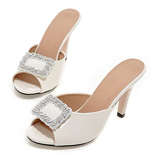 Aisun Donna Elegante Strass Peep Toe Slip On Sandali Con Tacco A