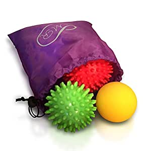 Foot Pain Relief Massage Balls Set of 3 for Plantar Fasciitis Treatment - Pain Management Physical Therapy Equipment - User Guide Included by Magnificent Rose