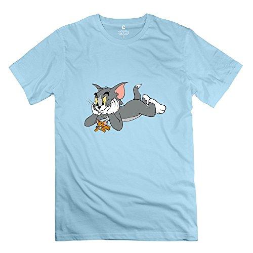 OKAYtshirt.com-4201-StaBe Man\'s Tom And Jerry T-Shirt 100% Cotton Geek XS SkyBlue-B01201CQ2Q-T Shirt Design