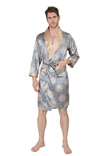 MAGE MALE Men's Summer Home Luxurious Robe Nightgown Thin Spa Long-Sleeve Pajamas Plus Size Bathrobes (Blue Gold, XS) (Xs Spa)
