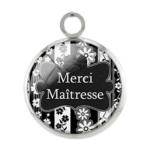 Pendants -1Pc French Merci Picture Pendants Charms Thank You Silver Plated 12Mm Women Girls Glass Fashion Pink DIY Jewelry Ct309 - Ct317