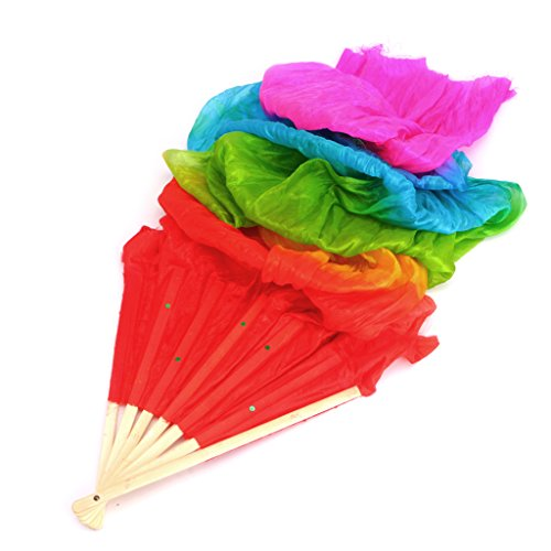 VIccoo Colorful Belly Dance Bamboo Long Silk Fans