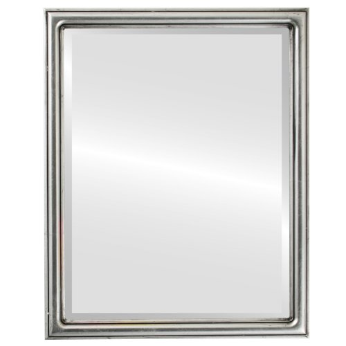 Rectangle Beveled Wall Mirror for Home Decor - Saratoga Style - Silver Leaf with Black Antique - 22x26 outside dimensions