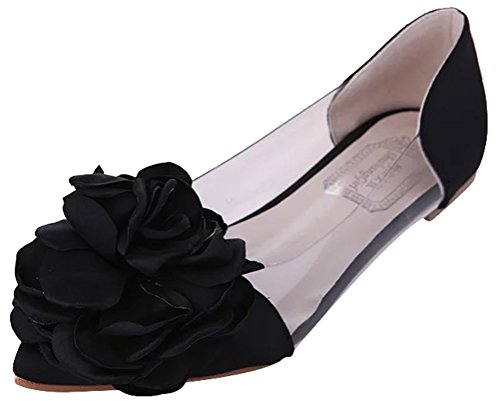 Cut Above Costumes Round Rock (Passionow Women's Cute Slip-on Pointed Toe Flower Feature Flat Ballet Slip-on Low Cut Shoes (5 B(M)US,Black))