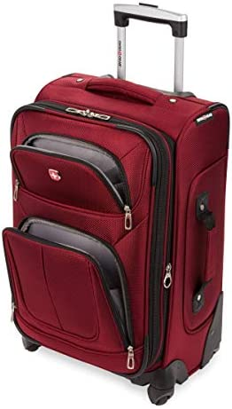 SwissGear Sion Softside Luggage with Spinner Wheels, Burgundy, Carry-On 21-Inch