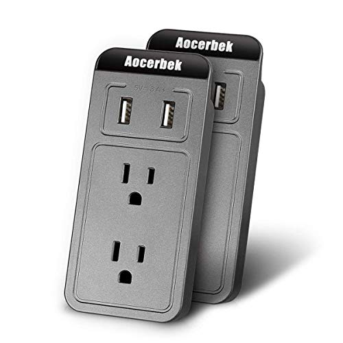 (Wall Outlet Aocerbek Multi Outlet Wall Mount Adapter Surge Protector with Dual USB Charging Ports Quick Charge 3.0A 2 AC Outlets Extender with Phone/Tablet Stand Holder(Grey,2 Pack))