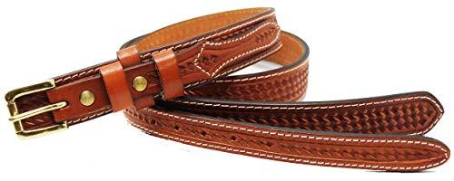 Affilare 35-36 Men's Leather Basket Weave Tooled Casual Jean Ranger Belt Tan 12RAA101TN