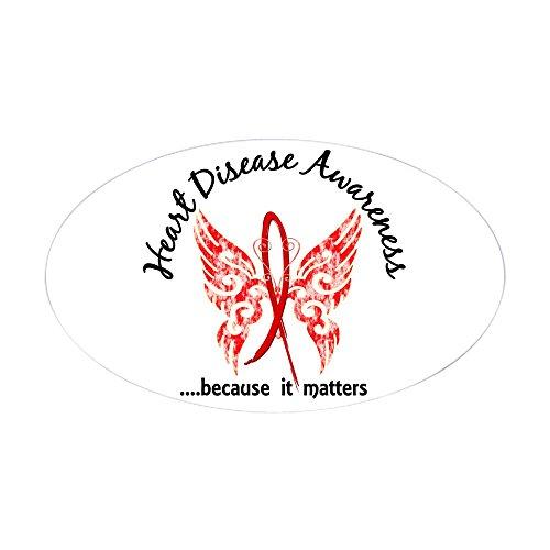 CafePress Heart Disease Butterfly 6.1 Oval Bumper Sticker, Euro Oval Car Decal