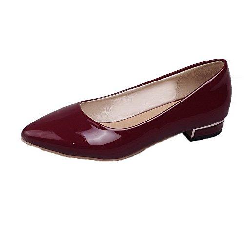 Amoonyfashion Vrouwen Lakleder Gesloten Teen Lage Hakken Effen Pumps-schoenen Claret