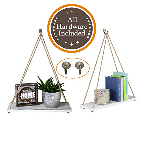 Hanger Brass Wall Set (Anchoris Products Hanging Distressed Wood Shelf Set. 2 Sturdy  Pine Shelves + 2  Antique Brass Mounting Hooks + Jute Rope + Instructions. Rustic Decorative Shelving. 17