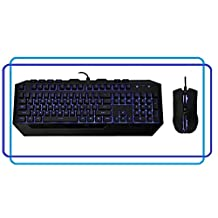 BlueTech LED Cool Gaming Keyboard and Mouse (with 3 preset levels 1000, 1600, 2000 DPI) Bundle for Microsoft Windows 8, 7, Vista, or XP w/ Blue Backlighting