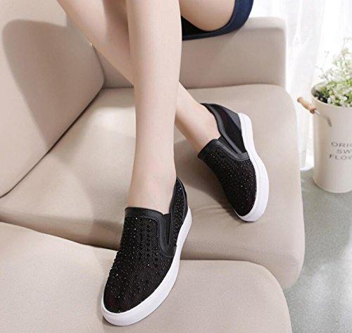 Black New DANDANJIE Shoes Hidden Women's Rhinestone Shoes Loafers Casual Mesh Heel Summer Student Shoes wO6wq